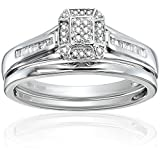 Sterling Silver White Diamond Cluster Bridal Ring, Size 6