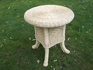 Mesa, mesa auxiliar de mimbre, 50 cm, color beige
