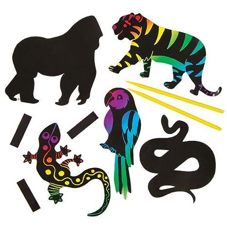 Animali Della Giungla Scratch Art Con Calamita Per Bambini Da