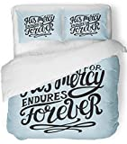 Emvency 3 Piece Duvet Cover Set Breathable Brushed Microfiber Fabric Hand Lettering His Mercy Endures Forever Biblical Christian Scripture Modern Bedding Set with 2 Pillow Covers Twin Size