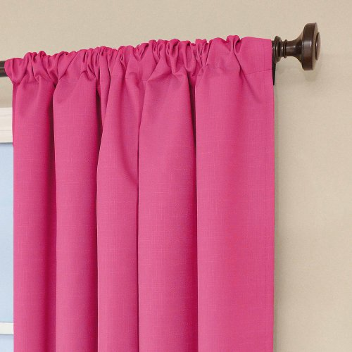 """ECLIPSE Kendall Thermal Insulated Single Panel Rod Pocket Darkening Curtains for Living Room, 42"""" x 84"""", Raspberry"""