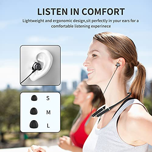 Bluetooth 5.0 Headphones, Clownfish Neckband Magnetic Wireless Earbuds Waterproof, Built-in Mic, Sports Earphones for Running & Workout, 8 Hours Play time(Black)
