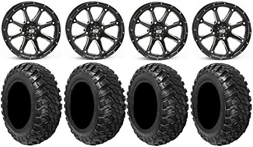 Bundle - 9 Items: STI HD4 14'' Wheels Black 28'' Kanati Mongrel Tires [4x137 Bolt Pattern 12mmx1.25 Lug Kit] by Powersports Bundle