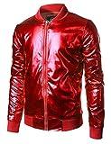 JOGAL Mens Metallic Nightclub Styles Zip Up Varsity Baseball Bomber Jacket Large Red