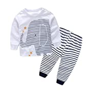 Efaster Baby Boys Outfit Clothes Printing T-Shirt Tops+ Stripe Long Pants 1Set (6-9M)