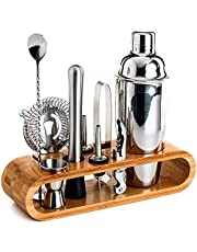Bartender Kit: 10-Piece Bar Tool Set with Stylish Bamboo Stand - Perfect Home Bartending Kit and Martini Cocktail Shaker Set For an Awesome Drink Mixing Experience