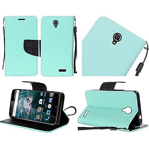 HRWIRELESS(TM) For ZTE Warp 7 PU Leather Flip Wallet Credit Card Cover Case (Teal) (Zte Zmax Phone Case Marijuana)