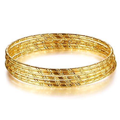 SHEGRACE Multi Layer Bangles for Girls 24K Gold Plated Bangles with Diagonal Pattern 7.5