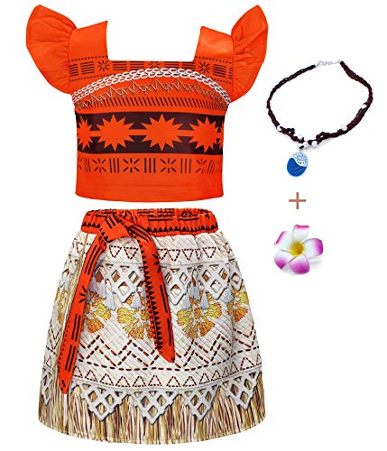 HenzWorld Little Girls Princess Moana Costume Two-Piece Dress