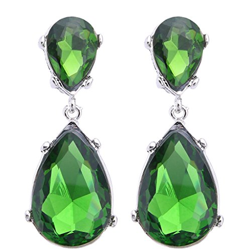 EVER FAITH Silver-Tone Teardrop Dangle Earrings Emerald Color Austrian Crystal - 2.5 Inch Long