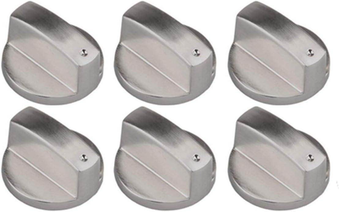 Liuer 6PCS Metal Universal 8mm Silver Gas Estufa Control Perillas Adaptadores Horno Rotativo Interruptor Cocinando Control De Superficie Cerraduras para Cocina Cocina Estufa de Gas Cooktop