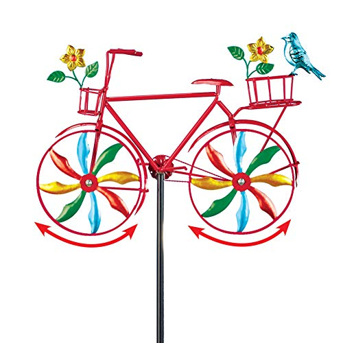 Collections Etc Colorful Bicycle Metal Spinner Yard Stake with Blue Jay and Flower Accents - Whimsical Outdoor Décor ()