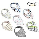 GHB 7-Pack Baby Bibs Bandana Drool Bibs Unisex Gift Set for Drooling and Teething 100% Organic Cotton Soft and Absorbent with Adjustable Snaps for Boys and Girls