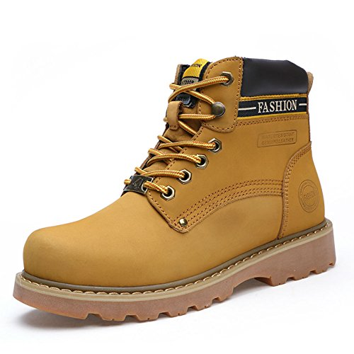 Picture of 3c camel Men's Walking Hiking Breathable Leather Boots Waterproof Lightweight Outdoor Shoes (9.5, Yellow)