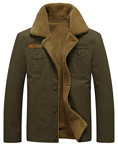 HOW'ON Men's Plus Cotton Warm Fur Collar Casual Button Military Cargo Jacket Outwear Parka Winter Quilted Coat Army Green XL