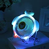 Coosa LED Light Portable USB Powered Desk Mini Fan Metal Cooler Fan Cooling Mute Quiet Great for Desktop Tabletop Office & Home (4 inch) Color Random