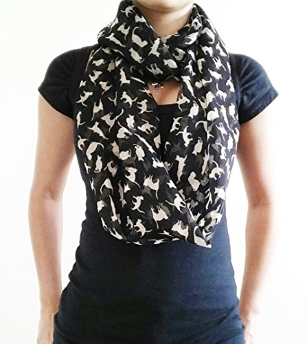 Cat Scarf - Infinity Cat Scarf - Loop Cat Scarf - Soft Cat Scarf - Chiffon Scarf - Boho Scarf - Infinity Scarf - Black Cat Scarf - Gift Idea