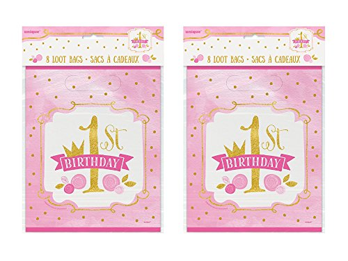 - 2 Set of 8 Unique Industries Pink and Gold Girls 1st Birthday Goodie Bags bundled by Maven Gifts