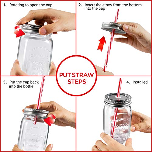 Mastertop 6 Pcs 16.9 Ounce Mason Drinking Jars with Lids  Recycled Glass Bottles and Drinking Straws with 3 Extra Sealing Lid by Mastertop (Image #6)