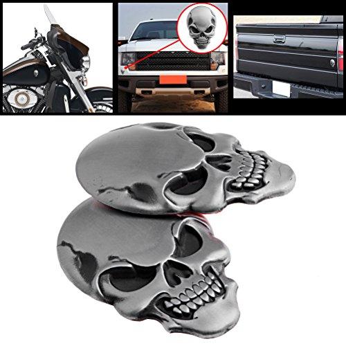 2X Cool 3D Silver Chrome Skull Demon Bone Badge Emble Metal Sticker Decal Fairing + 3M Adhesive For Auto Car SUV Pickup Truck