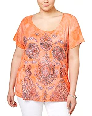 Plus Size Lotus Graphic T-Shirt