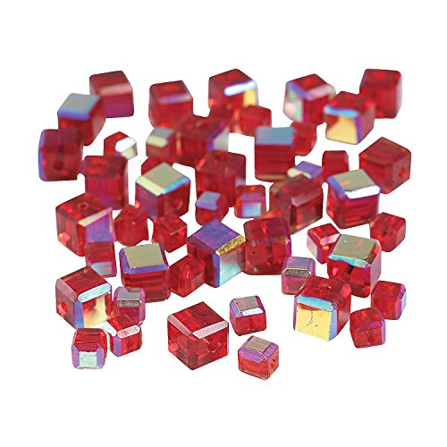 Garnet Cube Ab Cut Crystal Beads (48 Pcs.) - 4mm-6mm - Beading Supplies & Beads 6 Mm Cut Cubes