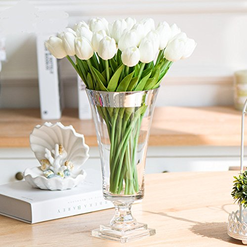 Shine-Co Single Stem Real PU Touched Artificial Tulips 10 Pcs Arrangement Bouquet with Glorious Moral for Home Office Wedding Parties (White) (Vase With Flowers)