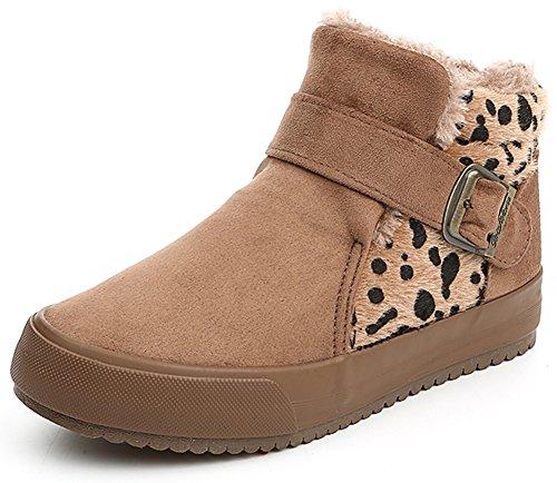 Summerwhisper Womens Warm Leopard Faux Suede Buckle Belt Ankle High Sneakers Platform Flats Fleece Lined Snow Boots Camel V5e7ZJrsWB