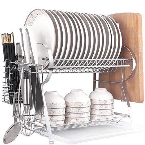 Knife Large Rack (MICOE stainless steel Dish Drainer Drying Rack with Cutting Board Holder 2 Tier Large Capacity WDT2002-2)