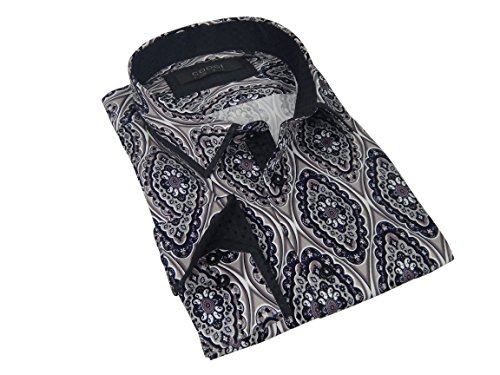 Coogi Luxe Brio Milano Mens High End Fashion Navy Pink Paisley Pattern Trim Button-Down Dress Shirt