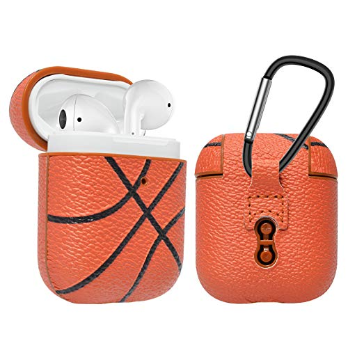 - Njjex AirPods Case, AirPods PU Leather Hard Case, Portable Protective Shockproof Headset Box Earphone Cover with Carabiner/Keychain Compatible with Apple AirPods 1st/2nd Charging Case [Basketball]