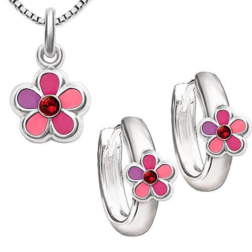 Clever - Juego de pendientes con circonitas rosas a juego con colgante y cadena Venecia de 42 cm, plata de ley 925, diseño de flor, color rosa, fucsia y violeta
