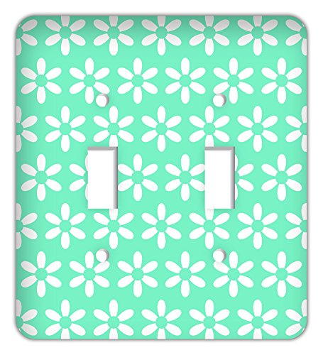 Flower Daisy Print Trendy Printed Double Switchplate, Mint