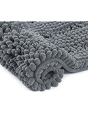 Home Beyond & HB design - Luxury Stripe Chenille Microfiber Bath Mat Rug, Ultra Soft Thick Absorbent Non Slip Shaggy Plush Floor Rugs for Bathroom, Machine Washable, 17 x 24 Inch, Grey