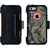 iPhone 5 / 5S / SE Cover | 2-in-1 Screen Protector & Holster Case | Full Body Military Grade Edge-to-Edge Protection with carrying belt clip | Drop Proof Shockproof Dustproof | Orange / Camouflage