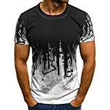 Men Summer Tees Tie Dye Print Hipster Hip Hop T Shirts Teen Boys Casual Slim Fit Crewneck Short Sleeve T-Shirt Tops (White, XXL)