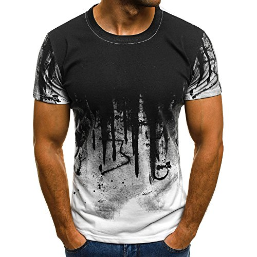 (Realdo Mens Gradient T-Shirt,Multi Color Short Sleeve Crewneck Muscle Blouse Tee Shirt Top)