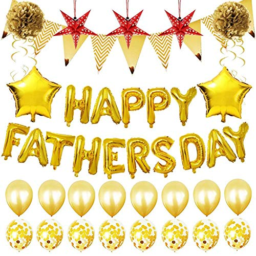 YourGift 33PCS Gold Party Decorations Happy FATHERSDAY Metallic Balloons Celebrate Father's Day Party Supplies Father's Gift Gold Balloon ()
