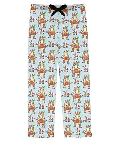 Santa on Sleigh Mens Pajama Pants - L (Personalized)