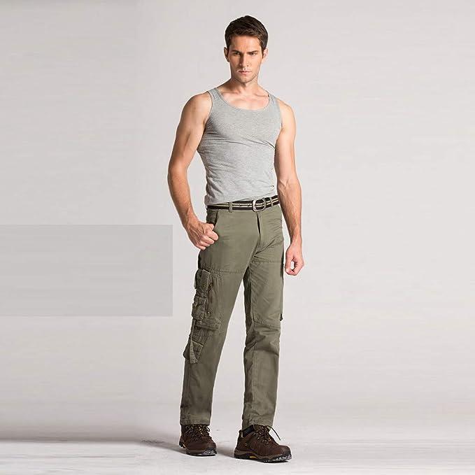Amazon Com Pantalones De Trabajo Tacticos De Algodon Con Multiples Bolsillos Para Hombre Militares Militares Pantalones De Carga Pantalones Para Correr Sin Cinturon Clothing