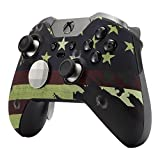 eXtremeRate US Flag The Stars & Stripes Patterned Faceplate Front Housing Shell with Soft Touch Grip for Microsoft Xbox One Elite Controller with Thumbstick Accent Rings