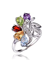 JewelryPalace Butterfly 2.4ct Genuine Amethyst Garnet Peridot Citrine Blue Topaz Cocktail Ring 925 Sterling silver