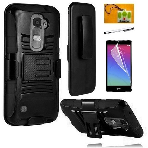 LG Volt 2 LS751 (Boost Mobile), LF in 1 Bundle, Hybrid Armor Stand Case with Holster and Locking Belt Clip, Stylus Pen, Screen Protector & Wiper Accessory (Holster Black) (Mobile Boost Cases Lg Volt Phone)