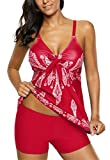 American Trends Womens Retro Printed Tankini Tummy Control Swimsuit Floral Tank Top Bathing Suit Plus Size Swimwear Red 2XL (US Size 16-18)