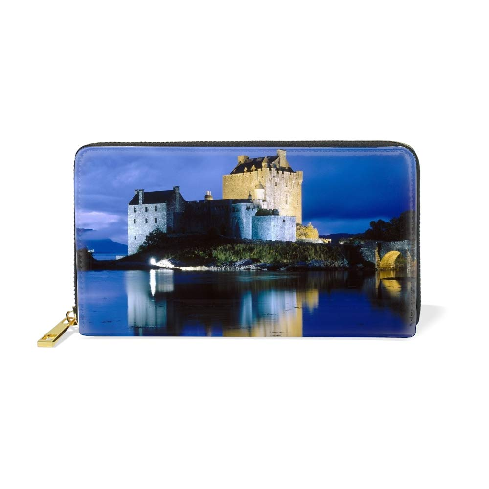 Women Castle Fountain Bridge Lights Wallet Ladies Zip Around Clutch Purse
