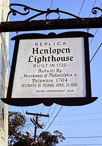 Roadside America Photo Collection | 1985 Henlopen Lighthouse Replica Sign, Rehoboth Beach, Delaware | Photographer: John Margolies | Historic Photographic Print 18in x 24in