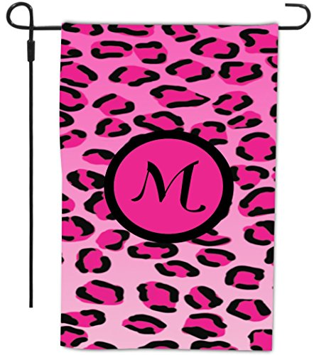 Rikki Knight Letter M Initial Hot Pink Leopard Print Monogram Decorative House or Garden Flag, 12 by 18-Inch (Print 2560)