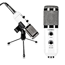 Neewer® White NW-300E Professional USB Condenser Microphone with Butterfly Clip Holder, Desktop Tripod Stand, XLR Female to USB & 3.5mm Male Splitter Cable and Ball-type Anti-wind Foam Cap
