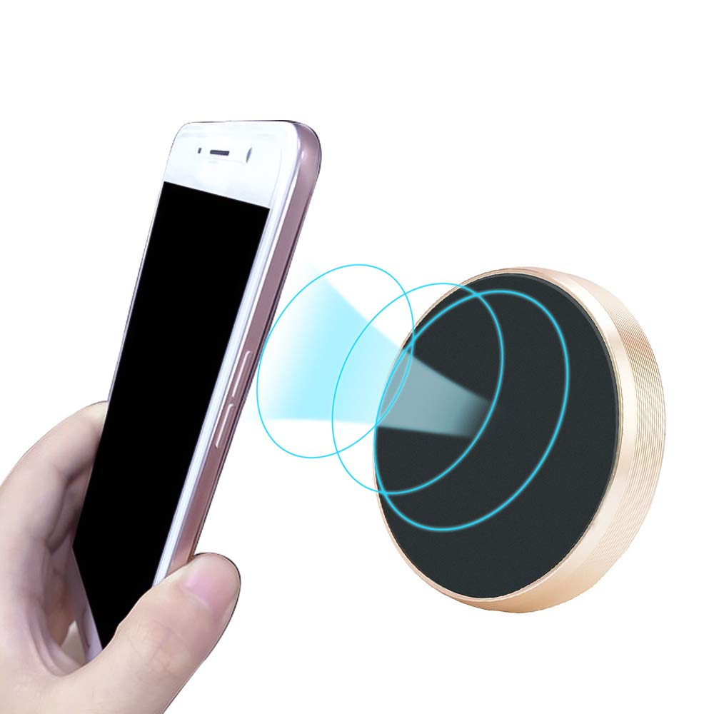 Godagoda Universal Magnetic Car Phone Holder Air Vent Magnetic Car Mount Phone Holder for Cell Phones/Mini Tablets Round Gold 1 pcs