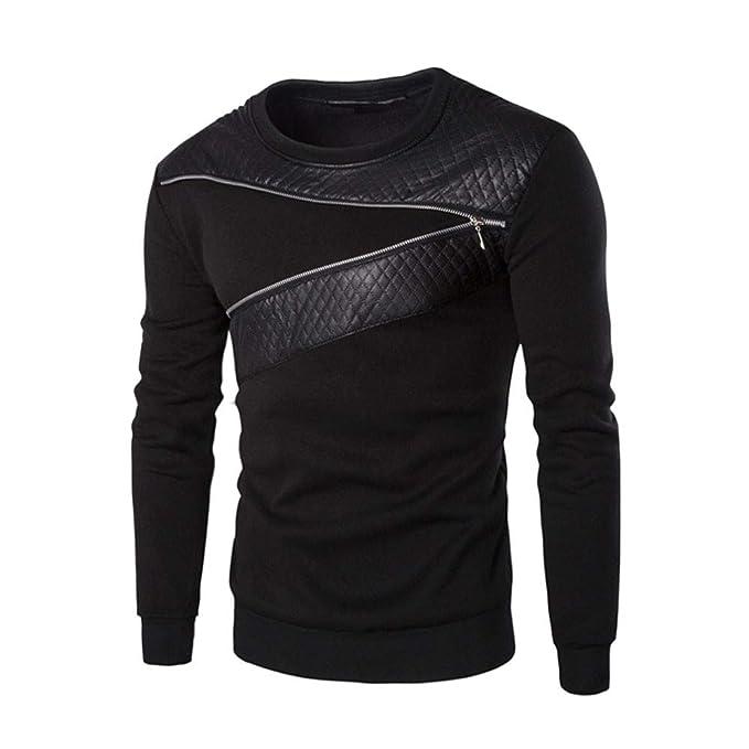 Bestow Los Hombres de Invierno cálido Splicing Cuero Sudadera Abrigo Chaqueta Outwear suéter: Amazon.es: Ropa y accesorios